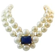 Vintage Chanel Double Strand Pearl Choker with Gripoix Chiclets