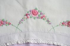 The embroidering is my favorite part. Embroidered Pillowcases, Valentine Cookies, Starter Kit, Aunt, Linens, Make Your Own, Machine Embroidery, Needlework, Giveaway