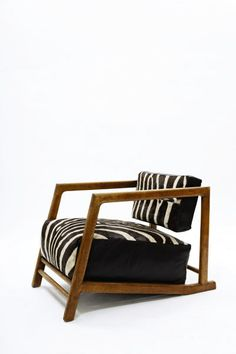 Denham Maclaren; Oak, Leather and Zebra Hide Armchair, c1930.