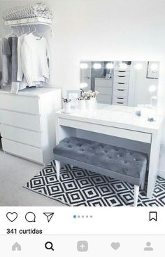 bedroom storage ideas for small spaces ; bedroom storage for small rooms ; bedroom storage ideas for clothes ; Vanity Room, Vanity Desk, Vanity For Bedroom, Vanity In Closet, Desk In Bedroom, Make Up Desk Vanity, Bedroom Vanities, Ikea Vanity, Makeup Table Vanity