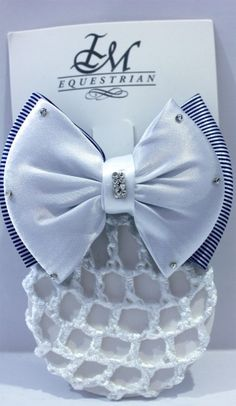 6e4229b70c IM Equestrian Hairclip - white knot with blue stripes