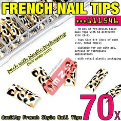 70x Teddy Bear Pre Design Acrylic French False Nail Tips Extensions #111546 $3.50 , #manicure #nail @one2sell
