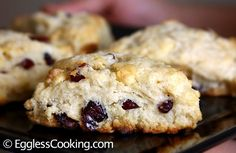 Cranberry Scones w/ White Chocolate Chips - Eggless Eggless Scone Recipe, Eggless Baking, Cherry Scones, Cranberry Scones, Eggless Desserts, Eggless Recipes, White Chocolate Chips, Chocolate Cherry, Pastry Blender