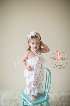 Adorable vintage inspired shabby chic romper - great for play dates, tea parties, or just a stroll in the park! Shabby chic bubble romper with lace trimmings