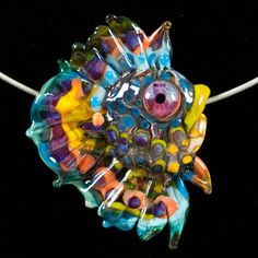 Glass Lampwork Bead Fish - Focal Angelfish 'Spiky' Pendant by Patsy Evins. $117.00, via Etsy.