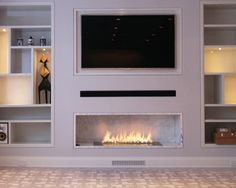 Fire Line Automatic 3 - Automatic fireplace premium bespoke model Fireplace Tv Wall, Linear Fireplace, Ethanol Fireplace, Fireplace Built Ins, Fireplace Remodel, Modern Fireplace, Living Room With Fireplace, Fireplace Design, Fireplace Ideas