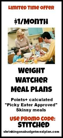 Shrinking On A Budget Weight Watchers Meal Plans: All your Weight Watchers meals planned out - with PointsPlus and nutritional information! Picky Eater approved and budget friendly. Use Promo Code: Stitched to receive the discount! shrinkingonabudgetmealplan.com/