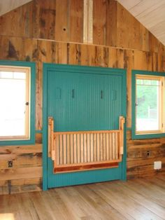 Murphy Bed Option (Hobbitat Tiny House Builder Offers Micro to Small Reclaimed Cabins Photo) Murphy Bed Couch, Murphy Bed Plans, Murphy Beds, Bunk Beds Built In, Built In Bench, Loft Spaces, Small Spaces, Tiny House Builders, Tiny House Living