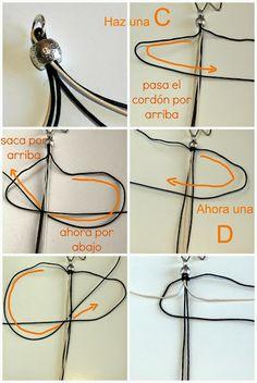 Pulsera de cordones con accesorios de zamak