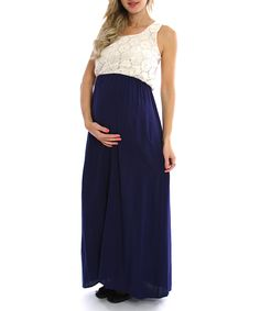 PinkBlush Navy Crocheted Maternity Maxi Dress