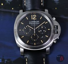 """Out Of The Blue!"" Officine #Panerai 44mm Luminor Daylight Chronograph  Dirty Dial N Series 2012 Ref#: PAM 356  ($7,675.00 USD) http://www.elementintime.com/Officine-Panerai-Luminor-Chronograph-Daylight-PAM-356-Stainless-Steel-Sku-9121"