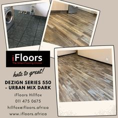 Mr Badenhorst recently employed #iFloors #Africa to upgrade his open plan #Kitchen & #Dining room. Mr Badenhorst chose the Urban Mix from the Dezign 550 series. This floor is amazingly unique and creative. The rustic design emphasizes the rugged, natural beauty of nature. It embraces nature-inspired textures, simple and earthy colours, and ultimately an unpretentious, organic warmth. Small Sewing Rooms, Vinyl Blinds, Earthy Colours, Kitchen Dining, Dining Room, Waterproof Flooring, Wood Laminate, Ceiling Decor, Blinds For Windows
