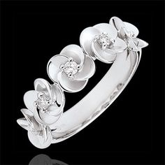 Bague Eclosion - Couronne de Roses - or blanc et diamants - 9 carats
