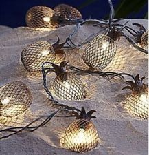Luau Tiki Porch Summer Fruit String Lights Fairy Light Pineapples Metal Buffett