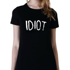 Idiot Tshirt 5sos Band Tshirt Michael Clifford 5 Seconds of Summer... ($15) ❤ liked on Polyvore featuring tops, t-shirts, black, women's clothing, black sheer shirt, summer shirts, slim t shirt, long black shirt and summer t shirts