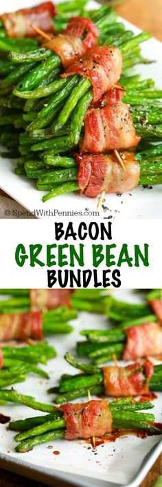 Bacon Green Bean Bundles have tender crisp green beans wrapped in bacon and brushed with a simple brown sugar glaze. These are easy enough for a weeknight meal and pretty enough to impress your guests alongside a steak dinner! Bacon Wrapped Green Beans, Green Bean Bundles, Vegetables, Recipes, Food, Wraps, Coats, Veggies, Eten