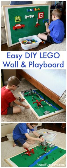 Easy DIY LEGO Wall & Play Board - Frugal Fun For Boys and Girls Build your own LEGO Wall, and it doubles as a play board for creating huge LEGO scenes. The whole thing can easily slide under a bed! Diy Simple, Easy Diy, Table Lego, Lego Building Table, Lego Activity Table, Lego Tray, Mesa Lego, Lego Boards, Lego Room