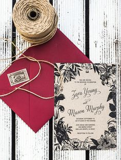 This printable wedding invitation features an elegant frame of botanical flora prefect for a formal affair.  This listing is for a single wedding