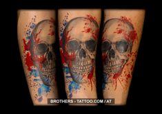 Skull Trash Tattoo (year 2016)  #skull #skulltattoo #trash #splash #red #blue #trashtattoo #tattoo #art #ink #instaart #tattooartist #tattooed #inkedup #tattooart #art #myart #inked #bodyart #tattoolife #nice #tattoolove Tattoo Studio, Piercing, Tattoo Life, Year 2016, Insta Art, Tattoos For Guys, Tattoo Artists, Watercolor Tattoo, Body Art