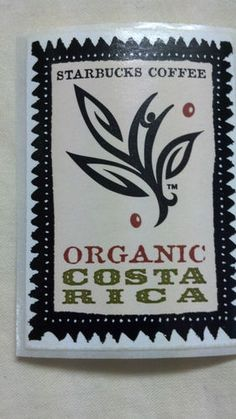 "Starbucks Coffee Sticker Organic Costa Rica 2"" x 1 1 2"" 