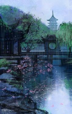 I don't really like the raining in this painting. Makes it feel sad and depressing. Chinese Landscape, Fantasy Landscape, Landscape Art, Fantasy Art, Photo Manga, Magic Places, Japon Illustration, Art Asiatique, Art Japonais