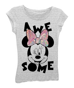Look at this #zulilyfind! Heather Gray 'Awesome' Minnie Mouse Tee - Girls by Minnie Mouse #zulilyfinds