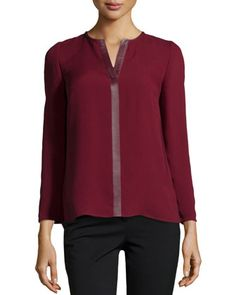 Opal Leather-Trimmed Silk Georgette Blouse, Merlot by Lafayette 148 New York at Neiman Marcus Last Call.