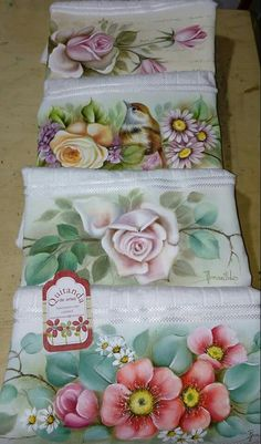 stenciled and painted towels....