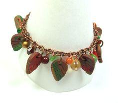 Fall Leaves Charm Bracelet  Handmade Polymer Clay by MyStudio91