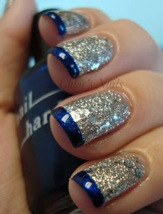 Love this nail art with the full gold and blue tip its different but still looks gorgeous