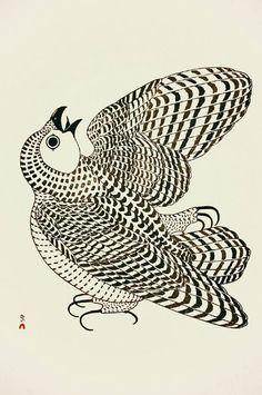 Kananginak Pootoogook, Young Arctic Owl, stonecut