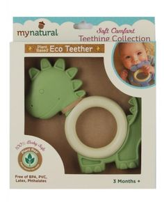 My Natural Dinosaur BPA and PVC Free Teething Ring. These teething rings are crafted from a modern innovation in plant-based bio materials that is a corn, potato and sugar starch-based blend and contain no BPA, phthalates, no PVC and are also latex free.   The teething ring has a smooth and firm inner ring and the other features of the dinosaur are rubbery, making sure that this product offers a multi-sensory experience with a variety of surfaces to soothe tender baby gums. Natural Teething Remedies, Product Offering, Latex Free, Kids Toys, Plant Based, Children, Dino Dino, Multi Sensory, Sensory Experience