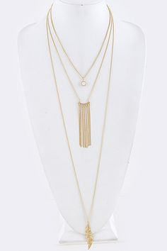 Front Line Feather Layered Necklace