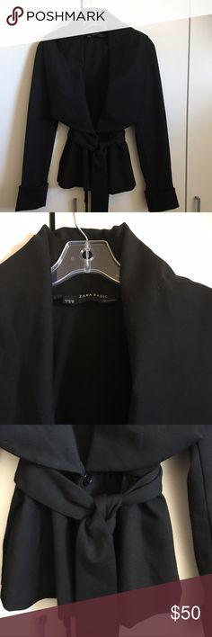Zara Basic Black Peplum Moto Style Jacket W/Sash Gorgeous Zara jacket! Great condition! Peplum bottom with matching belt sash. One button closure at waist. Polyester/Rayon/Spandex. Beautiful caplet collar. Measurements to follow. Zara Jackets & Coats