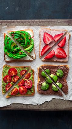 Breakfast Toasts!  . Which one is your favorite?  1,2,3,4!!!! 1. Vegan Cashew Cream Cheese++Flakes++Sea Salt.  2. Vegan Strawberry Cream Cheese +.  3. Guacamole+Cherry Tomatoes  +Salt and Peppers.  4. Vegan Chocolate Spread + kiwi . . . Happy Friday Everyone! . . .