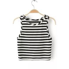Yoins Round Neck Sleeveless Stripe Pattern Crop Top ($12) ❤ liked on Polyvore featuring tops, yoins, black, striped top, stripe top, sleeveless tops, cut-out crop tops and round neck top