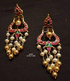 Indian Jewelry Earrings, Silver Jewellery Indian, Indian Wedding Jewelry, Ruby Jewelry, Indian Bridal, Gold Jewellery, Bridal Jewelry, Gold Earrings, Unique Jewelry