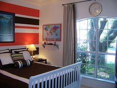 Orange Striped Boy Room - Design Dazzle