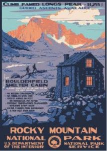 WPA style poster of Rocky Mountain National Park