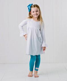 Look at this #zulilyfind! White Dress & Blue Set - Infant, Toddler & Girls #zulilyfinds