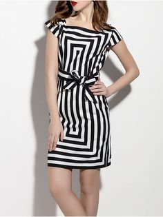 Bow Striped Cotton-blend Mini Dress-Beautiful dresses might put you in an instant good mood. No matter how old you are, this dress will always make you look more spirit and vitality.