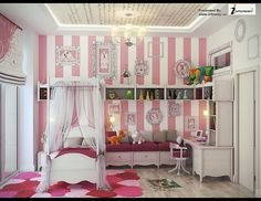 Small White and Pink Striped Girls Bedroom with Mini Bed