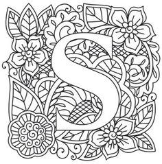 New embroidery letters patterns urban threads 49 ideas Christmas Embroidery Patterns, Embroidery Letters, Embroidery Works, Hand Embroidery Designs, Embroidery Stitches, Paper Embroidery, Coloring Letters, Alphabet Coloring, Schrift Design