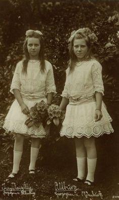 Duchesses Ingeborg and Altburg of Oldenburg, daughters of Frederick Augustus II, Grand Duke of Oldenburg and his second wife, Duchess Elisabeth Alexandrine of Mecklenburg-Schwerin.