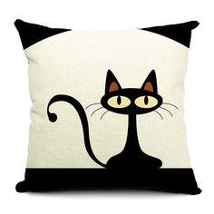 Hot Sale Cartoon Style Cotton Linen Cushions Lovely Little Cat Pattern Sofa Throw pillow Home Decor Square Fundas