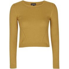 TOPSHOP Wool Mix Crop Top ($45) ❤ liked on Polyvore featuring tops, ochre, high neck top, high neck ribbed top, crop top, topshop and brown tops