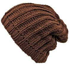 Brown Thick Chunky Knit Tight Beanie Cap ( 11) ❤ liked on Polyvore  featuring accessories 32439814821b
