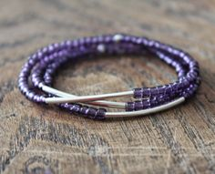 Set of 3 elastic bracelet withpurple glass beads and by eendar, €6.60