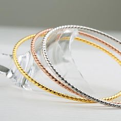Sterling Silver Bangle, Silver Twist Bangle ,Stacking Bangles,Solid High Gold Plated,Handmade Jewellery Made to Order Bangle Bracelets, Bangles, Rose Gold Plates, 18k Gold, Handmade Jewelry, Jewelry Making, Jewels, Sterling Silver, Stuff To Buy