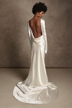 Satin Gown, Silk Wool, Pearl Drop Earrings, Baroque Pearls, One Shoulder Wedding Dress, Gowns, Bridal, Wedding Dresses, Style